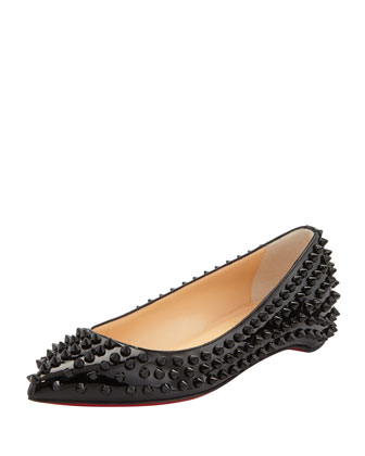 Christian Louboutin Pigalle Spikes Patent Red-Sole Flat, Black