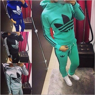 sweater zip mint blue black jacket hoodie tracksuit pants jumpsuit jumper adidas logo gray
