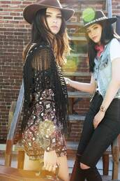 romper,pants,hat,kendall jenner,kylie jenner,kendall and kylie jenner,fringes,paisley,country style,kendall + kylie label