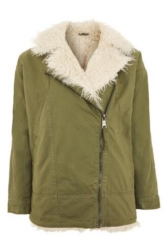 jacket fur faux fur khaki