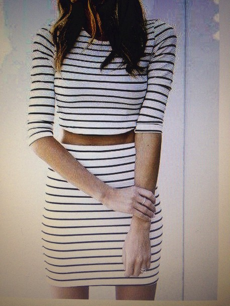 shirt stripes skirt crop tops black and white cute outfits