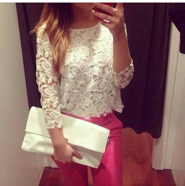 blouse white blouse bag