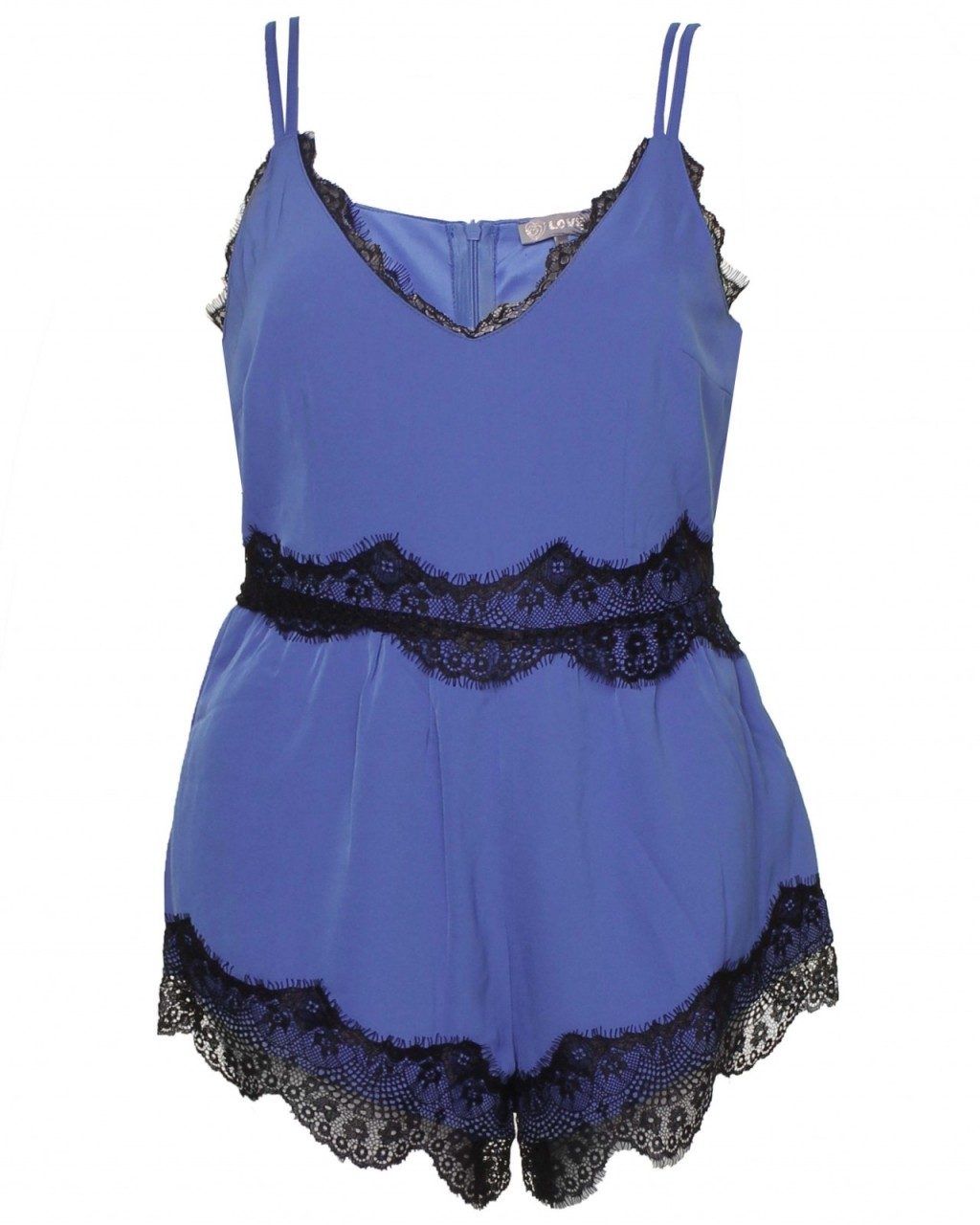 LOVE Cobalt Chiffon Playsuit With Lace Detail