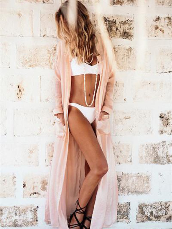 cardigan mynystyle classy chic fashion pastel style maxi summer bikini pink girly girl girly wishlist long cardigan cover up