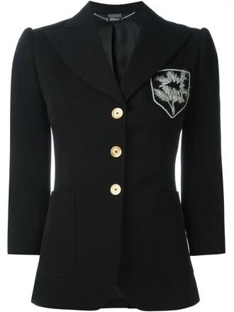blazer embroidered black jacket
