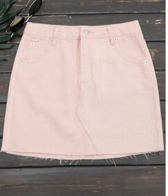 skirt girly pink light pink light denim denim skirt frayed denim skirt cute
