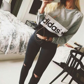 sweater black grey white girls adidas sweater adidas adidas originals grey sweater grey hoodie hoodie adidas hoodie black sweater white sweater