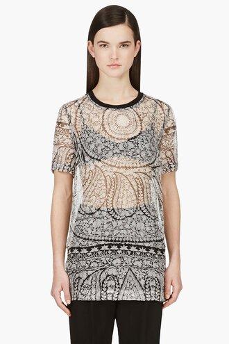 shift white chiffon silk clothes women embroidery print shirt