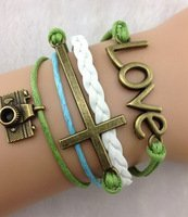 Strand cord bracelet, faux leather, men, womens, boys or girls bracelet. 3pcs love bracelet. bronze camera bracelet, love and the holy cross charms. green charm bracelet.: jewelry