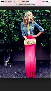 skirt,maxi hot pink fade floor lengthy,jacket,denim 3/4 jacket,denim jacket,denim jackety