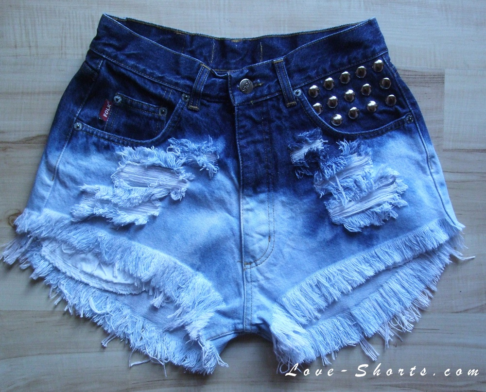 Mademoiselle ombre frayed studded shorts