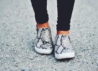 snake shoes grey snake print white
