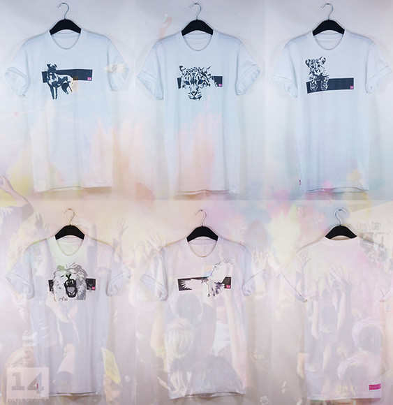 dog tiger white animal gold pink top t-shirt swag stylish 14 lion bird summer outfits white t-shirt rolled sleeves casual t-shirts colour rihanna rita ora