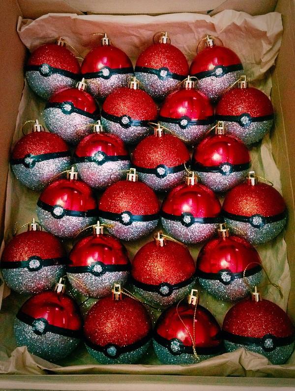 christmas ornament pokeball pokemon holiday season holiday home decor home accessory newcrystalwavebling newcrystalwave