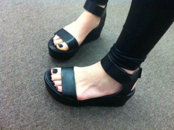 Shoes Black Open Toes Black Leather Sandals Leather