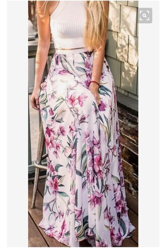 skirt floral skirt maxi skirt long skirt dress fashion fashion vibe street vibes streetwear streetstyle style outfit top