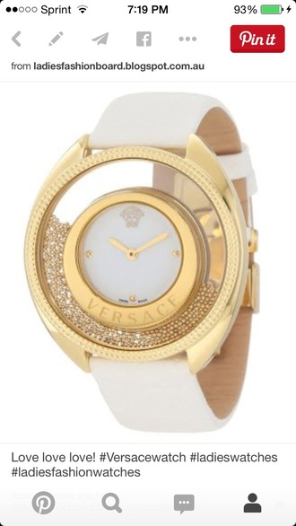 jewels versace leather jacket versace dress versace watch watches for women watches online shopping watches gold watch gold watch marc jacobs watch colors gold watch gold sequins white watch that says now white watch white and gold dress