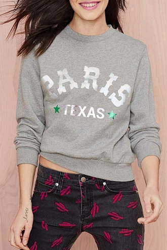 sweater grey fashion style long sleeves jewel neck letter print gray sweatshirt casual sporty comfy fall outfits jeans