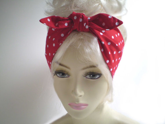Red and White Polka Dot Head Scarf  Red White by SGArtandFashion