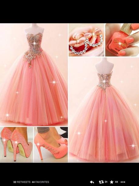 dress gorgeous beautiful prom dress prom gown pink dress peach crystal love