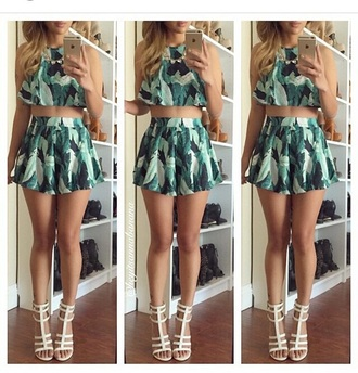 skirt peplum top crop tops high heels cute high heels high waisted skirt shoes outfit fashion two-piece cute top camouflage