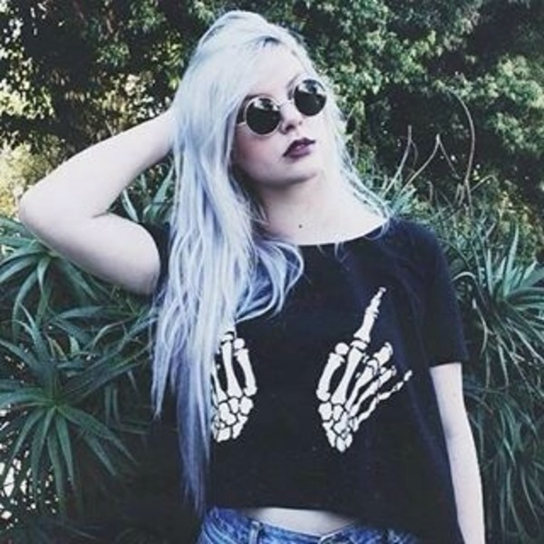 t-shirt skeleton rude hands black t-shirt crop black t-shirt dead sunglasses