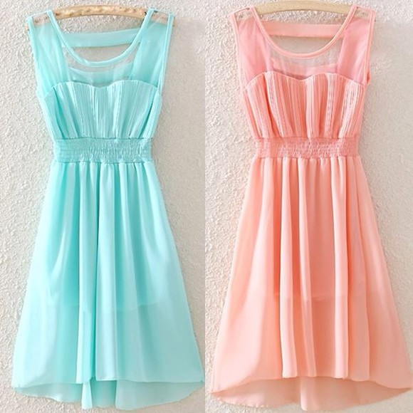 dress mint light blue cute pastel