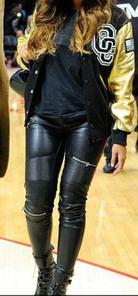 jeans cuir noir