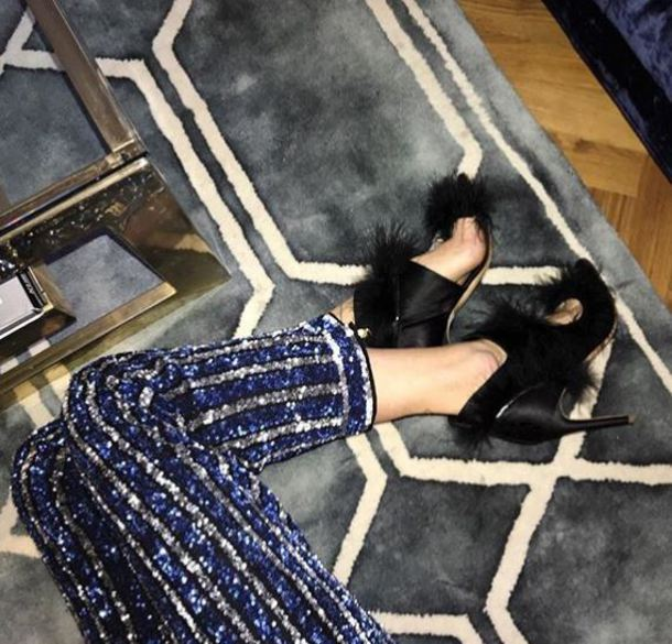 shoes fur sandals black blogger instagram pernille teisbaek
