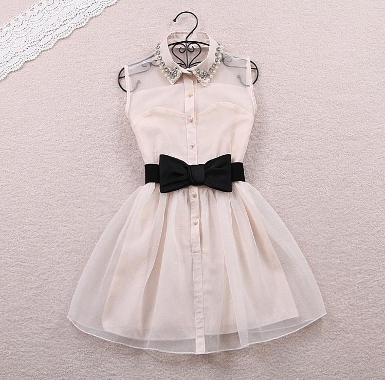 Popular clothing — fashion bow belt dress