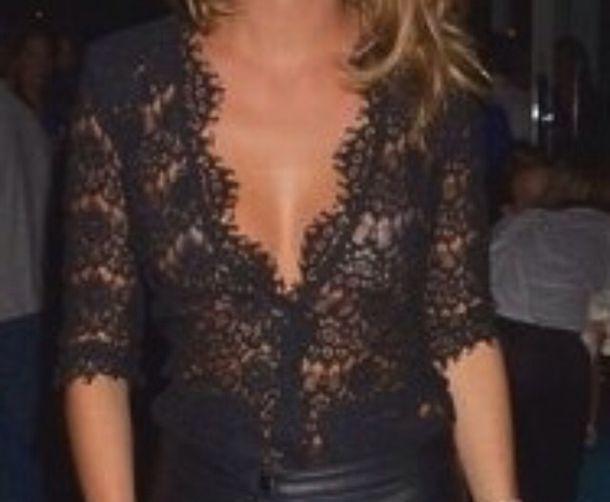 blouse black lace lowcut blouse