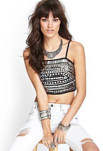 Metallic Beaded Crop Top | FOREVER21 - 2055880201