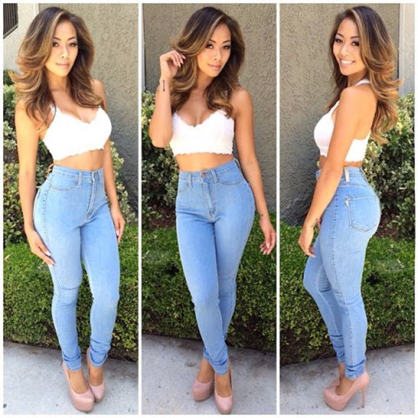 ffdbccc382caa9 jeans ripped jeans skinny jeans denim top top bralette summer outfits style  high waisted jeans skinny