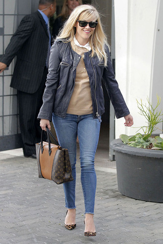 reese witherspoon leather jacket louboutin isabel marant