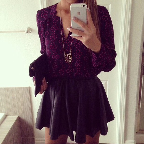 skirt black necklace purple black skirt cute skirts high waisted skirt shirt jewels gold gold necklace aztec handbag black bags