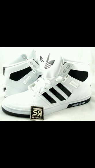 adidas high top sneakers black and white women's