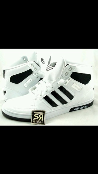 women's adidas high top sneakers black and white