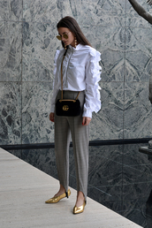 fashion vibe,blogger,pants,top,bag,shoes,sunglasses,jewels,stirrup pants,grey pants,gucci bag,gucci,blouse,flats,gold shoes,tumblr,shirt,white shirt,ruffle,ruffle shirt,kitten heels,mid heel sandals,mid heel pumps,black bag,chain bag,theclosetheroes,sweater,leggings