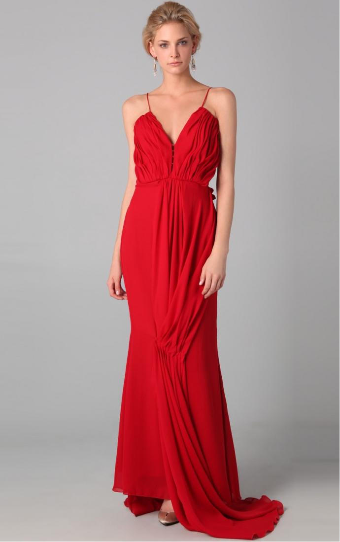 Red Chiffon Floor-length Simple Backless Evening Dress [w10112070488] - AU$153.00 : bersunshop.com.au