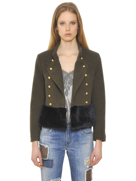 ERMANNO ERMANNO SCERVINO Wool & Faux Fur Jacket in green