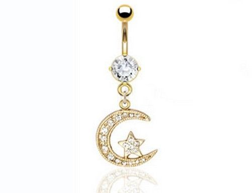 Moon star 18k gold plated cz dangle belly navel ring