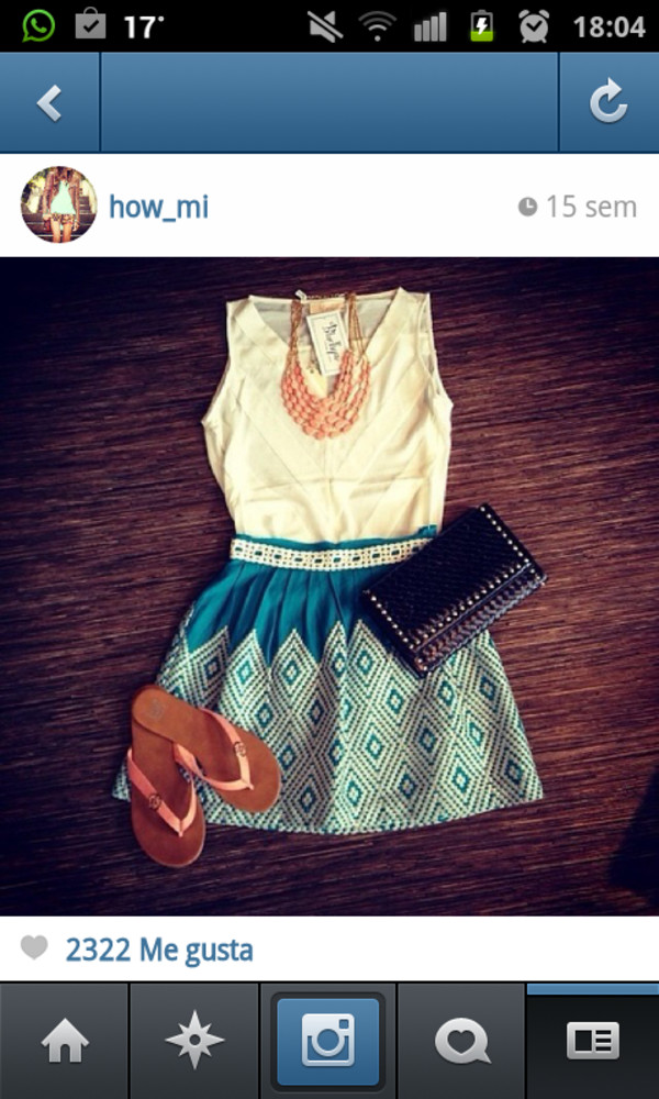 blouse white cute blue skirt forms necklace jewerly bag black sandals summer
