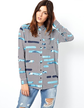 ASOS | ASOS Blouse in Layered Cutabout Stripe Print at ASOS