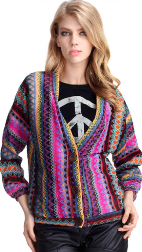 sweater multicolor colorful cardigan jacket vintage