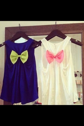 t-shirt dark blue neon yellow bow white pink bow cute top tank top shirt bows colorful summer cut out blouse