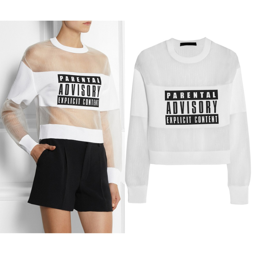 Lady's Fashion Cool White/black Parental Advisory Explicit Content Mesh and Jersey Sheer Sweatshirt Combo Top-in Hoodies & Sweatshirts from Apparel & Accessories on Aliexpress.com