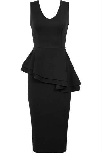 dress black peplum party holidays essex boutique frill