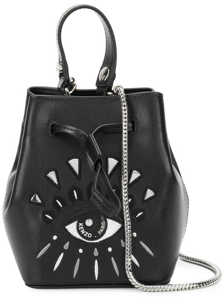 Kenzo women bag bucket bag leather cotton black