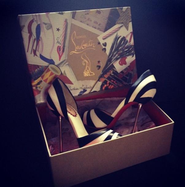shoes black white heels paris stilettos louboutin high heel pumps