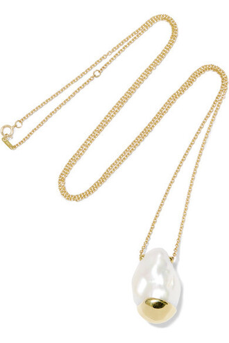 pearl necklace gold jewels